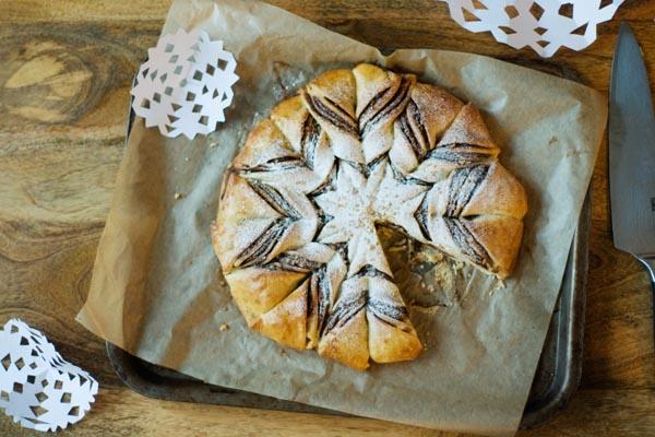 Nutella snowflake bread