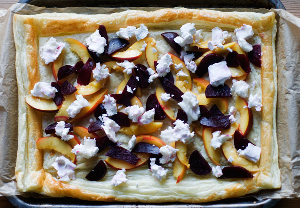 savoury summer tart beetroot nectarine goats cheese puff pastry