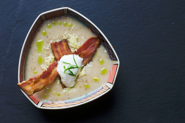 Baked potato soup jacket potato soup recipe chive oil crispy bacon sour cream cheese
